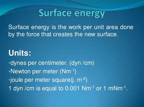 Sats test and surface energy