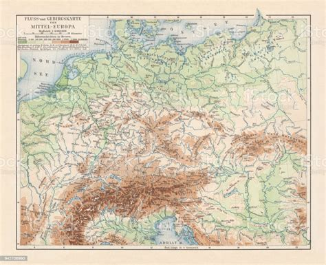 Physical Map Of Central Europe Lithograph Published In