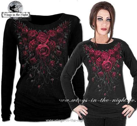 SPIRAL DIRECT Blood Rose Top   Ladies Gothic Clothing