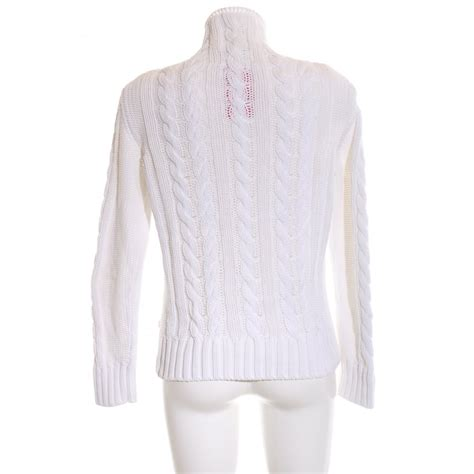 MARC O'POLO Strickpullover weiß Zopfmuster Casual-Look